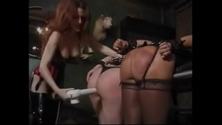 Big booty lesbian BDSM sluts get their asses slapped and punished in a dungeon