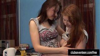 Busty lesbians toying twats
