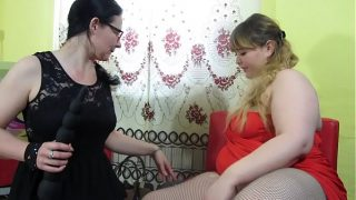 Chubby lesbians fuck each other with big dildos and make full vaginal fisting