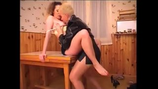 cute brunette and horny blonde milf havinghot fuck on the table xxx