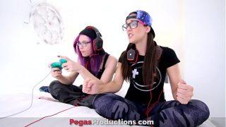 cute teen lesbians having hot sex at home plays sex games