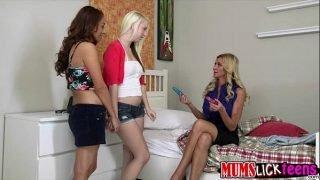 Horny Eva Long shows a teen how a milf gives pleasure