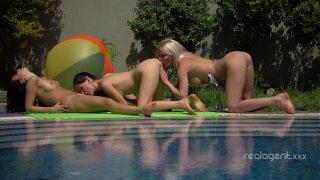 Three sexy Russian lesbians anal masturbation and pussy licking near swimming pool