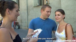 Young Couple Takes Money for Public Foursome with lesbian babes